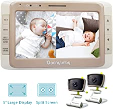 Moonybaby Split 50 Baby Monitor with 2 Cameras and Audio, Large Display with Wide View,..
