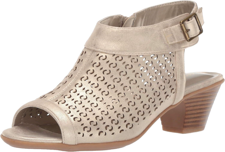 Easy Street Womens Jill Dress Casual Sandal with Cutouts Heeled Sandal