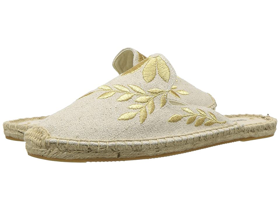 Soludos Embroidered Floral Mule (Sand/Metallic) Women