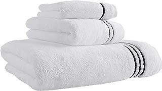 Stone & Beam Hotel Stitch Cotton Bath Towel Set, Set of 3, Black Stripe
