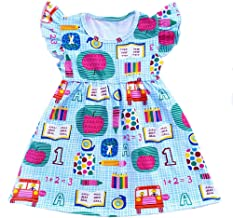 Toddler Girls Apple Printed Back to School Pearls Milk Silk Dress
