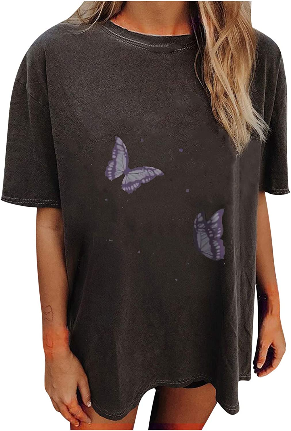 Forwelly Tunic Shirt for Women Cute Butterfly Print Short Sleeve O Neck T Shirt Summer Casual Baggy Top Blouse