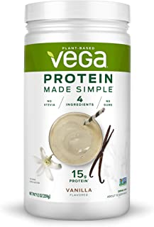 Vega Protein Made Simple Delicious Plant Based Healthy Protein Powder Stevia Free, Gluten Free, No Gums, Vanilla, 9.13 oz