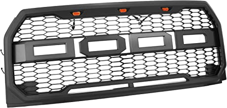 Mophorn Front Grill for 15-17 Ford F-150 F150 Raptor Style Packaged Grille ABS Carbon Fiber Look Raptor Conversion Mesh Grille 41-0157 with Amber LED Lights (for 15-17 Ford F150)