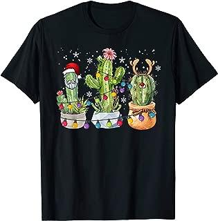 Cactus Christmas Light Cute Cactus Santa Hat Plant Lover T-Shirt