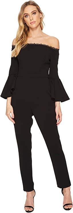 Adrianna Papell Off the Shoulder Stretch Crepe Jumpsuit with Bell Sleeve Detail