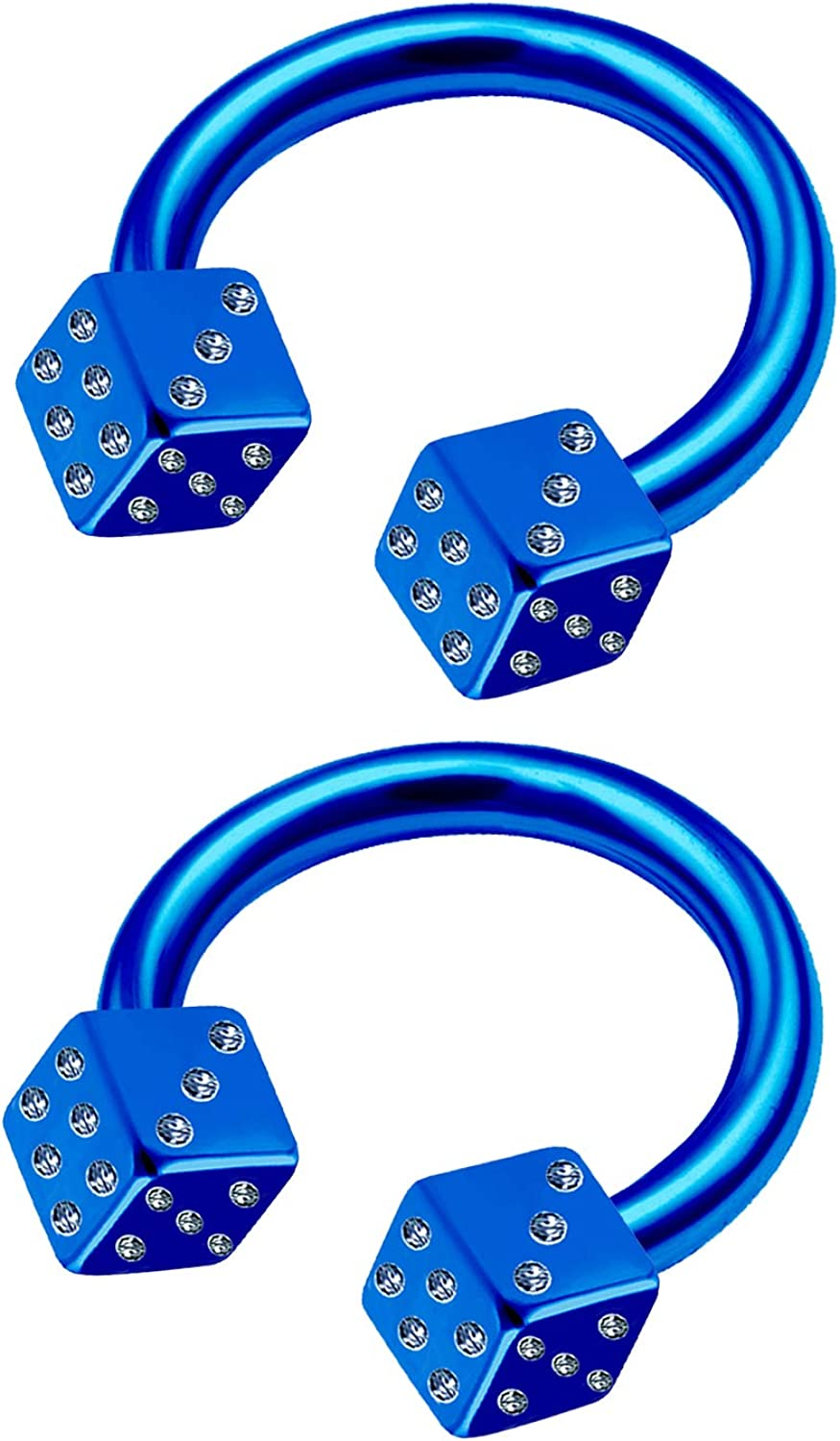 MATIGA 2Pcs Anodized 16 Gauge 5/16 8mm Horseshoe Earrings Piercing Jewelry Septum Nose Lip Tragus Cartilage 3mm Dice More Choices