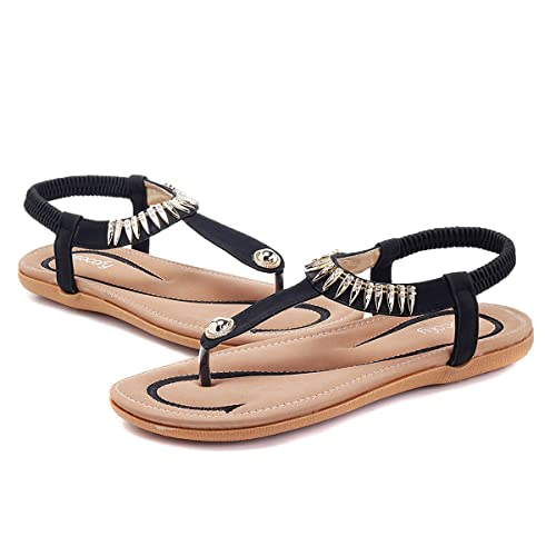 e67ffc398036 gracosy Women Summer Low Flat Heel Flip Flop Sandals Slip On Post Thong  Boho Shoes with