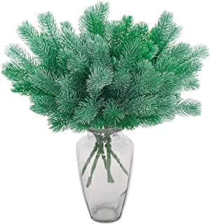 Aisamco 5 Piezas de Ramas de Pino Artificial Plantas Verdes Agujas de Pino Accesorios de Bricolaje para Guirnalda Guirnalda Adornos navideños y decoración del jardín del hogar