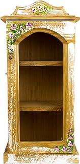 Alacena con puerta Pintada a Mano con Color Blanco Raspado decorado con motivos florales. Hecho en México por Artesanos