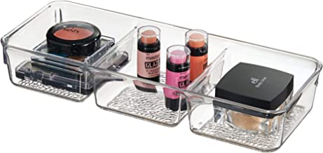 InterDesign Rain Cosmetic Organizer Tray for Vanity Cabinet to Hold Makeup, Beauty Products - 3 Compartments, Clear