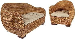 Rotin Design REBAJAS : -38% Sofa de ratan Azur marron, moderno y barato Abaca