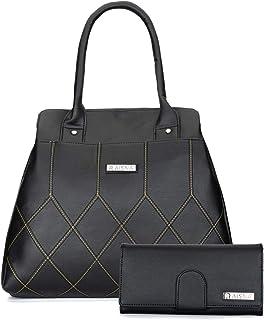 Aisna Women's Combo Handbag & Clutch (Black)(Set of 2)