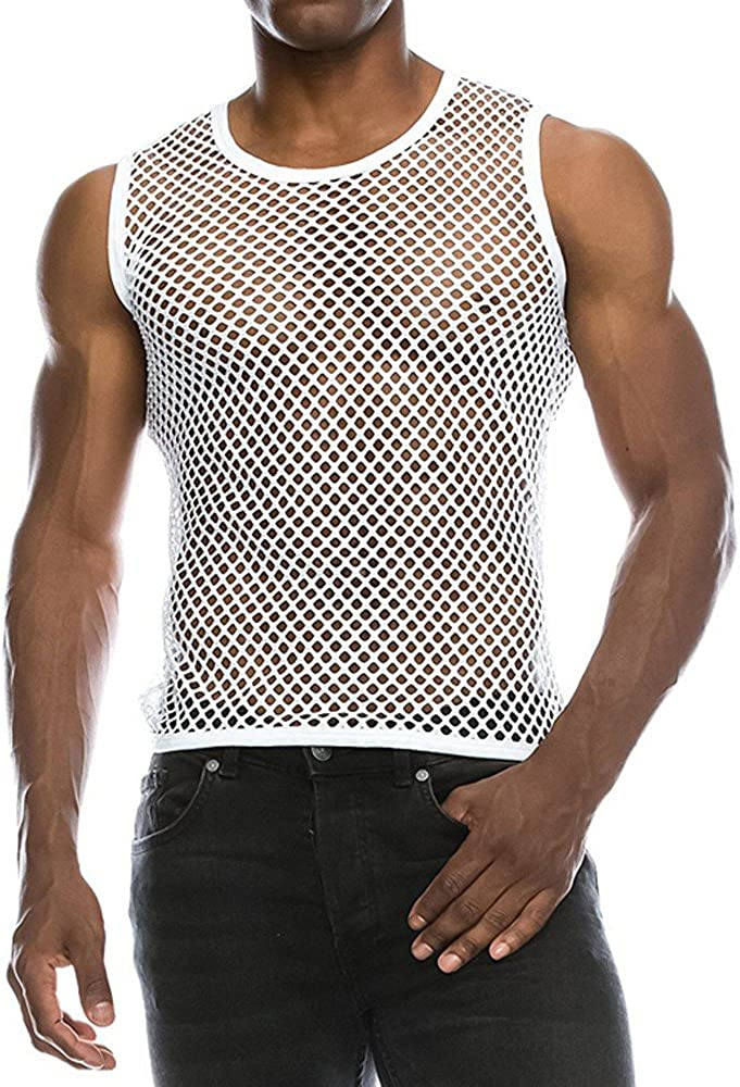 MODOQO Men's Mesh T Shirt Casual Summer Loose Fit Muscle Fitness Tee Tank Top