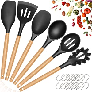 Cooking Utensils Set, HKJ Chef 7Pcs Kitchen Utensil Spatula Set with Food Grade Silicone & Wooden Handle, Kitchen Tool Gadgets Utensil Set for Cookware,Nonstick, Heat Resistant, BPA-Free (Black Grey)