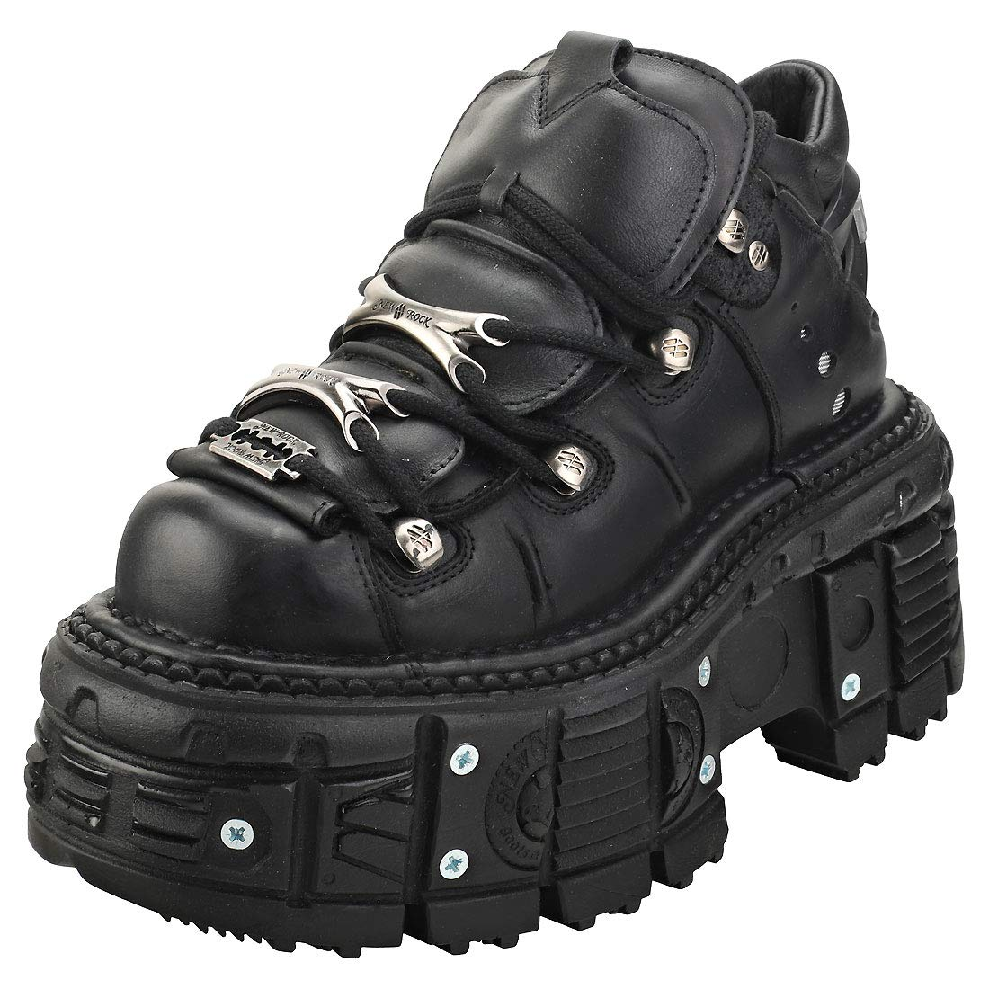 NEW ROCK M.106-S29 TOWER SHOES Metallic Black Leather Biker Gothic Boots