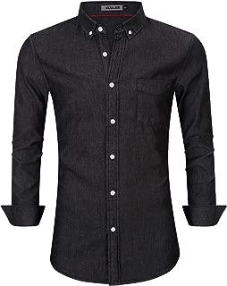 Kuulee Men's Casual Slim Fit Short Sleeve Button Down Dress Shirts Denim Shirt