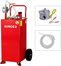 SUNCOO 30 Gallon Portable Gas Caddy Fuel Storage Tank on Wheels Gasoline Fluid Diesel with Pump &Hard Tube Red