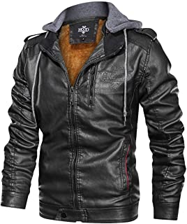 Men's Black Brown Coffee Stand Collar Warm PU Faux Leather Zip-Up Motorcycle Jacket with a Removable Hood
