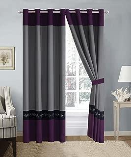 4 Piece Dark Purple/Grey/Black Double-Needle Stitch Pinch Pleat Grommet Window Curtain Set 108 x 84-inch, 2 Panels and 2 Ties