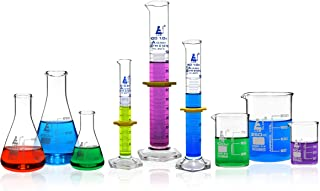 Premium Glassware Set, 9 Pieces - Includes 3 Beakers, 3 Erlenmeyer Flasks & 3 ASTM, Class A Measuring Cylinders - Borosilicate 3.3 Glass - Eisco Labs