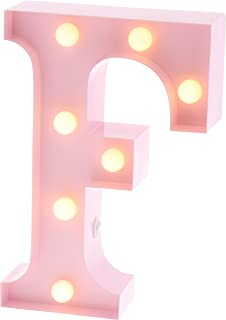 """Barnyard Designs Metal Marquee Letter F Light Up Wall Initial Nursery Letter, Home and Event Decoration 9"""" (Baby Pink)"""
