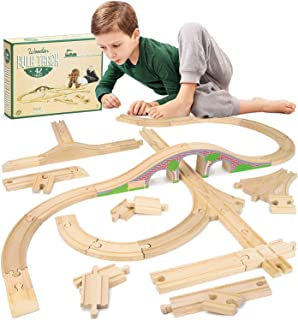 Conductor Carl 42-Piece Bulk Value Wooden Train Track Booster Pack with Red Brick Bridge - Compatible with All Major Toy Train Brands
