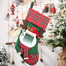 Red Large Size Vintage Handcrafted Christmas Stocking Gift Snowman 3D Reindeer Candy Pouch Bag Decorations with Photo Frame 44x21.5cm//17.3x8.46in Dricar Christmas Stocking