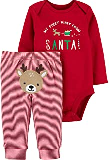 Carter's Winter Holiday 2-Piece Christmas My First Visit from Santa Bodysuit and Striped Pants with Embroidered Reindeer Set
