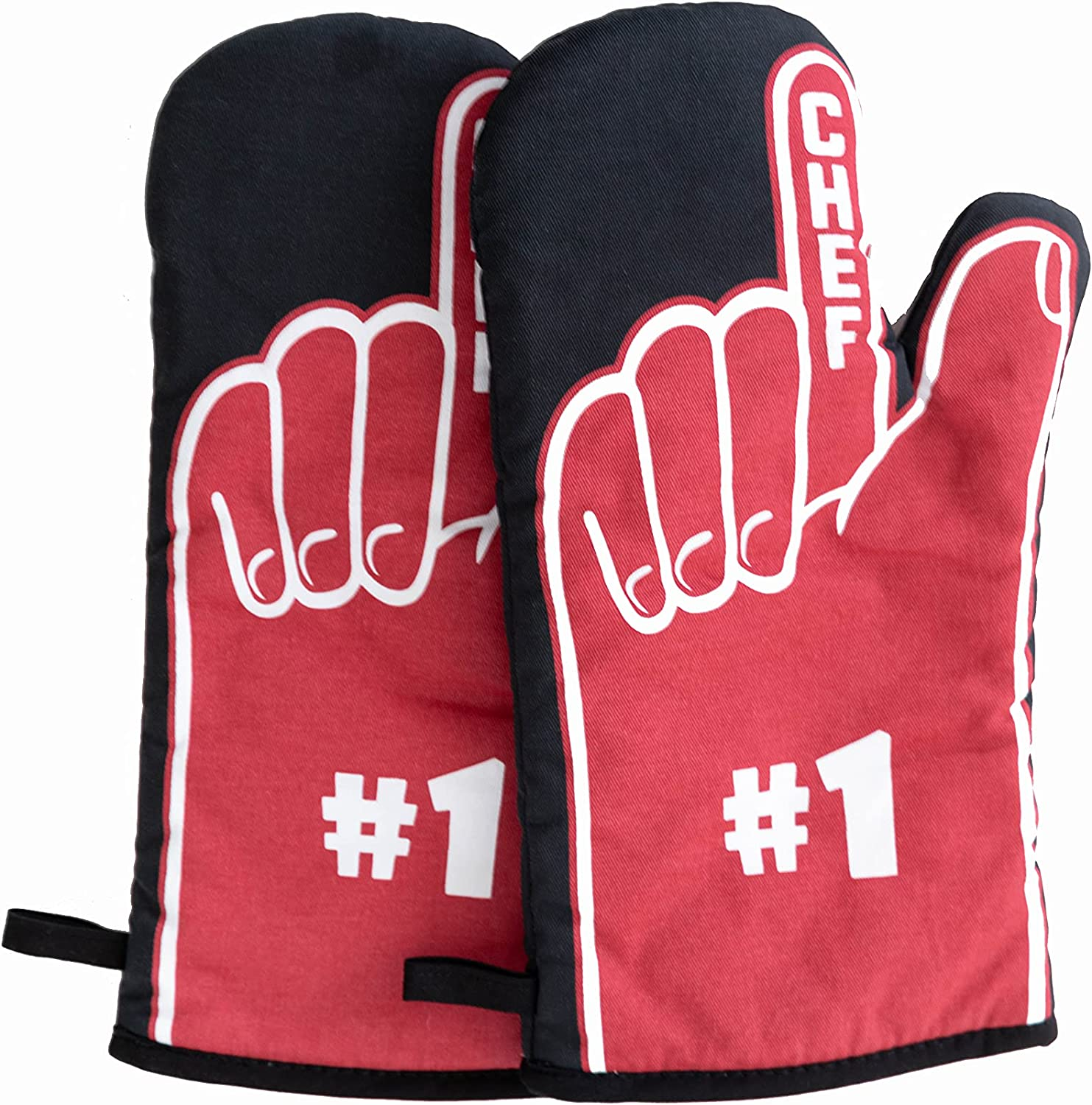 Papa Ray's Premium Oven Mitts, 480F Heat Resistant Cotton Pair of Oven Gloves With #1 Fan Cool Design - Long Protective Kitchen Gloves With Soft Cotton Lining - Fun Kitchen Gift for Baking - Red Black