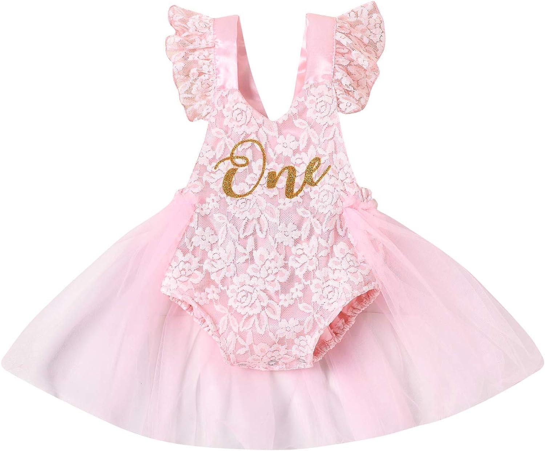 Newborn Baby Girl 1st Birthday Outfit One Ruffle Sleeveless Lace