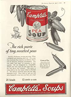 Rich Puree Campbell's Cream of Pea Soup ad 1923