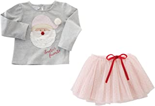 Mud Pie Baby Girls' Toddler Santa's Favorite Long Sleeve Shirt and Tutu Two Piece Set