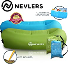 Nevlers Inflatable Lounger with Side Pockets and Matching Travel Bag - 2 Pack - Blue & Green - Waterproof and Portable - Great and Easy to Take to The Beach, Park, Pool, and as Camping Accessories