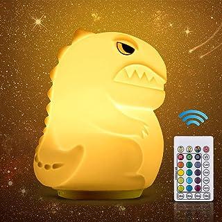 16 Colores Luz Nocturna Infantil, INPHER Lámpara Noche Infantil de Dinosaurio, Lámpara LED Recargable, con Control Táctil y Ajuste del Temporizador, Regalo para Niño Bebe