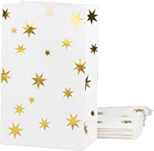 Party Treat Bags - 24-Pack Gift Bags Party Supplies, Paper Favor Bags, Recyclable Goodie Bags for Birthdays, Weddings, Baby Shower, Gold Foil Stars Design, White, 5.5 x 8.6 x 3 Inches