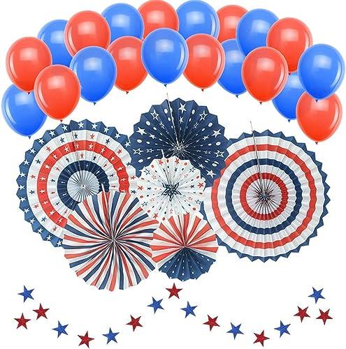 Patriotische Dekorationen, American Independence Day 4. Juli (50 Stück) – inklusive 6 Papierf ern, 20 blaue und rote Luftballons, 24 Luftschlangen, Party-Deko-Zubeh