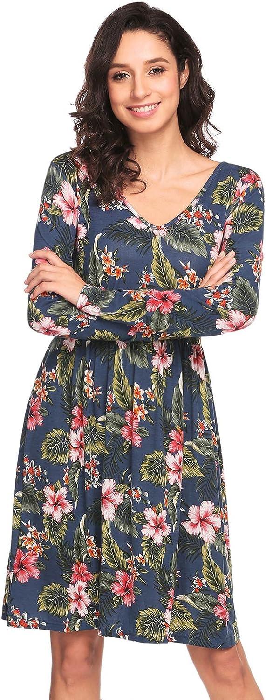 Beyove Women's Casual Floral Print V Neck Long Sleeve Knee Length A Line Cocktail Dress