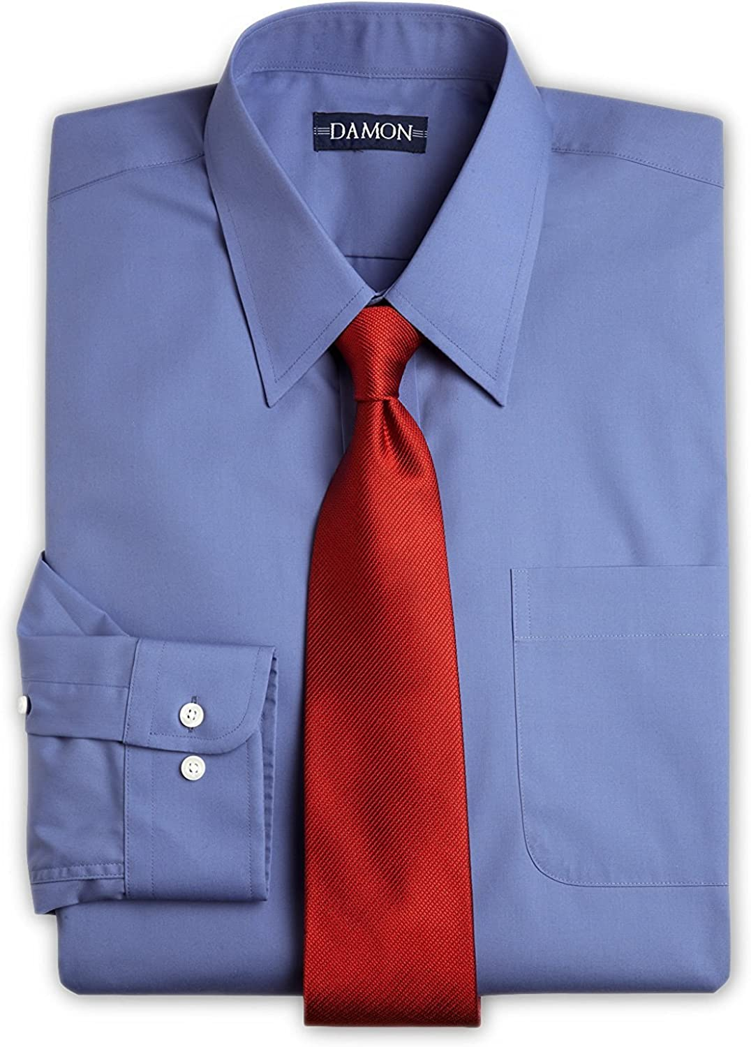 Enro Point Collar Solid Color Poplin Dress Shirt (French Blue, 17 34/35)