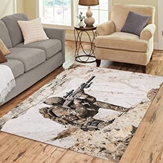 Semtomn Area Rug 5' X 7' Special United States Army Ranger in The Mountains Afghan Home Decor Collection Floor Rugs Carpet for Living Room Bedroom Dining Room
