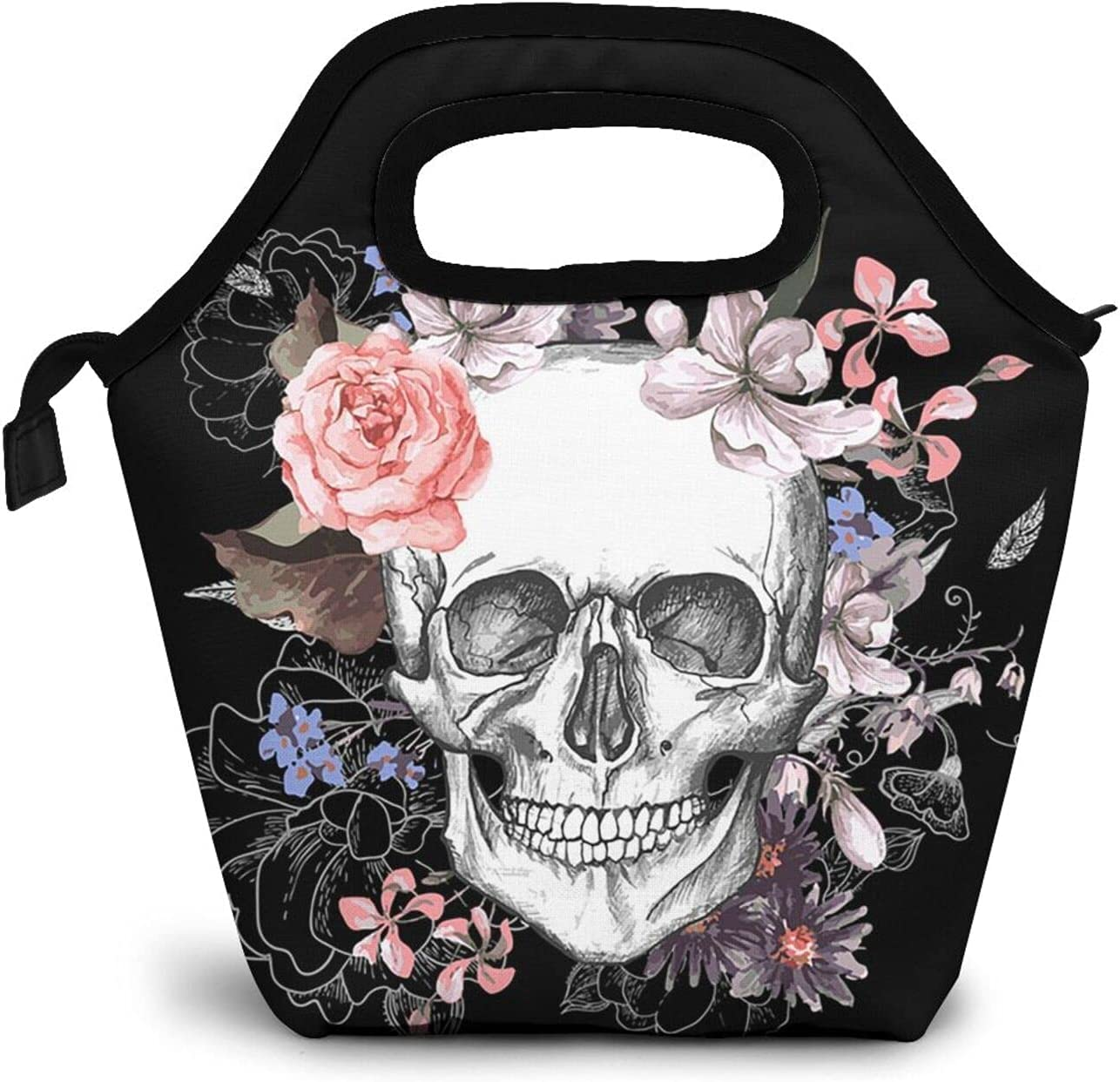 Halloween Sugar Skull Lunch Bag for Women Reusable Insulated Lunch Box, Portable Tote Bag for Women Nurse Office Worker