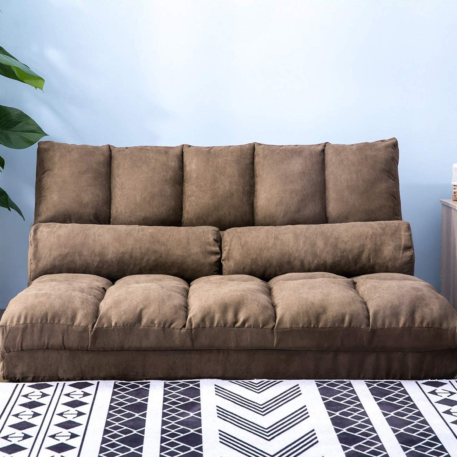 - YSKWA Double Chaise Lounge Sofa Chair Floor Couch With Two Pillows