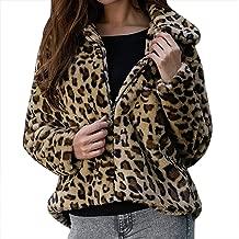 iHHAPY Womens Warm Jacket Plush Coat Winter Jacket Leopard Print Short Parka Coat Zipper Outerwear Fashion Streetwear