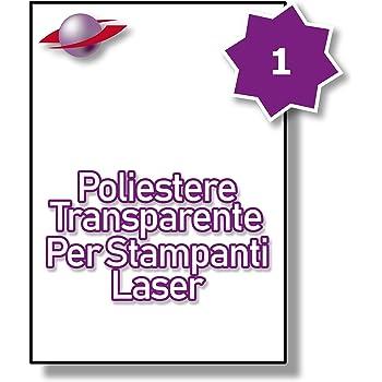 1 Par Foglio 5 Fogli LP1//210 GTP. Label Planet/® Etichette Trasparenti di Poliestere A4 Lucide per la Stampa Laser 210 x 297mm 5 Etichette