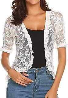 Londony Sheer Chiffon Bolero Shrug Jacket, Women's 4/3 Sleeve Floral Lace Shrug Bolero Cardigan White