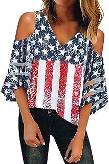 Misaky Women's American Flag Off Shoulder Mesh Panel Blouse 3/4 Bell Sleeve Top Shirt