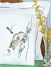 Jack Dempsey Stamped Pillowcases W/White Perle Edge 2/Pkg-Fish