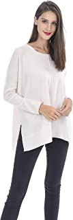 Oversized Tunic Crewneck Sweater 100% Pure Cashmere Long Sleeve Side Slits Pullover for Women