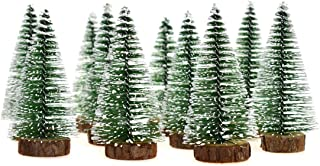 Hagao Mini Snow Frost Trees Mini Christmas Tree Plastic Winter Snow Ornaments Tabletop Trees for Holiday Party DIY Room Decor Home Table Top Christmas Decoration Diorama Models 100mm 10 Pcs