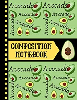 Avocado Composition Notebook: Green Fruit Themed Print - WIDE RULED Composition Notebook for Teachers, Students, Men, and Women